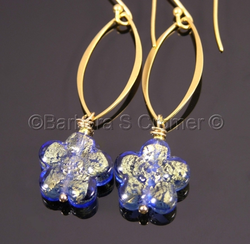 blue and gold Venetian fiori earrings