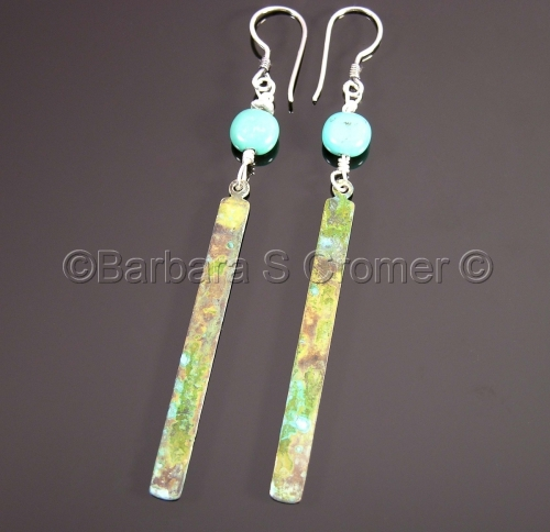 Verdigris oxidized copper, turquoise & silver earrings