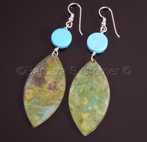Verdigris oxidized teardrops, turquoise & silver earrings