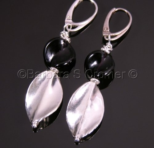 Black Venetian and Thai silver twist earrings