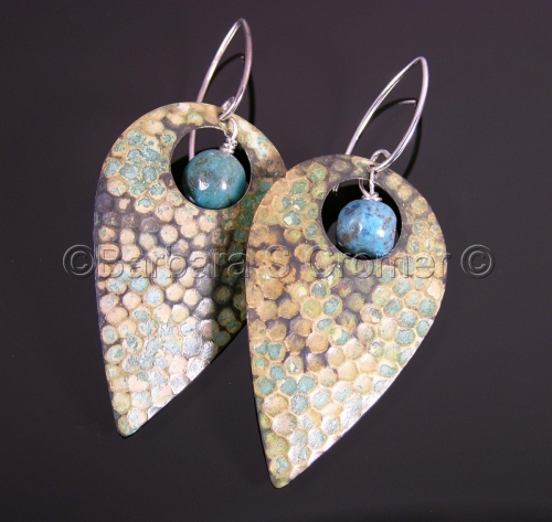 Hammered Verdigris and Turquoise drop earrings