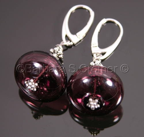 Amethyst Venetian bauble lamp work earrings