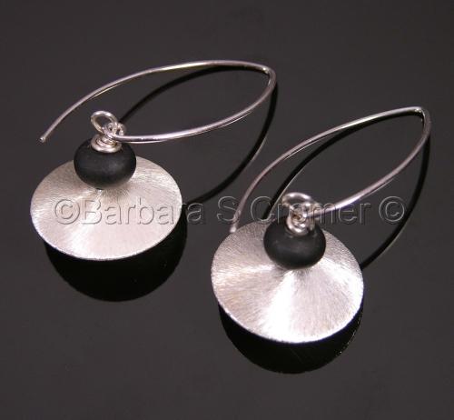 Sterling silver with black lamp work earrings