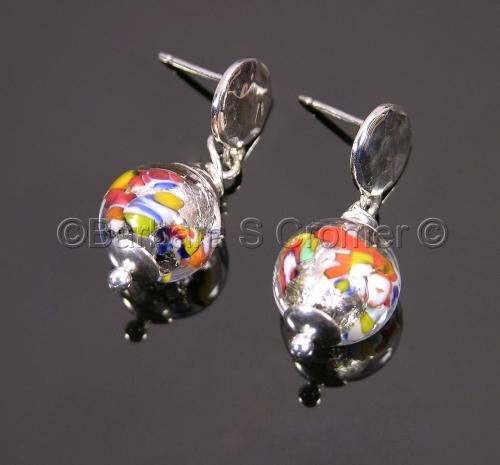 Petite Venetian Klimt style silver earrings