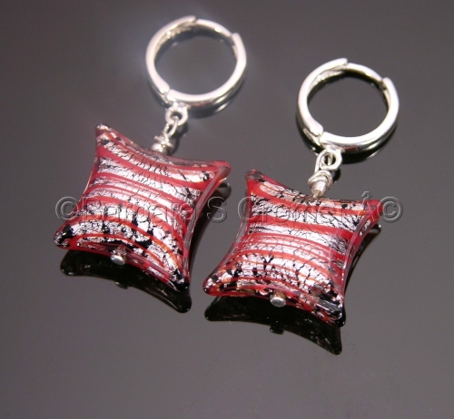 Mod square silver and red Venetian lamp work earrings