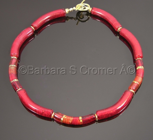 Luscious Ruby with Vermeil, Venetian lamp work necklace