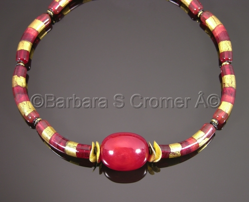 Venetian lamp work in luscious ruby red and 24 kt. gold necklace