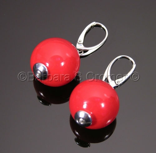 Passionately red, Venetian lamp work bubble earrings