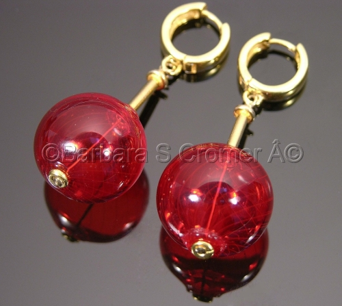 TRULY RED VENETIAN BAUBLES ON GOLD EARRINGS