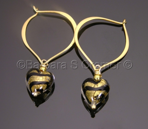 Wild at heart, Tiger stripe, Venetian lamp work earrings