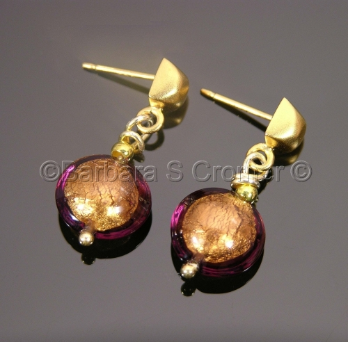 Small amethyst and vermeil Venetian earrings
