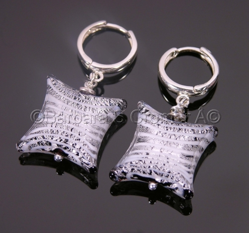 Mod square white and silver Venetian lamp work earrings