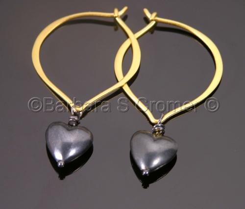 Black silver hearts and vermeil lotus earrings