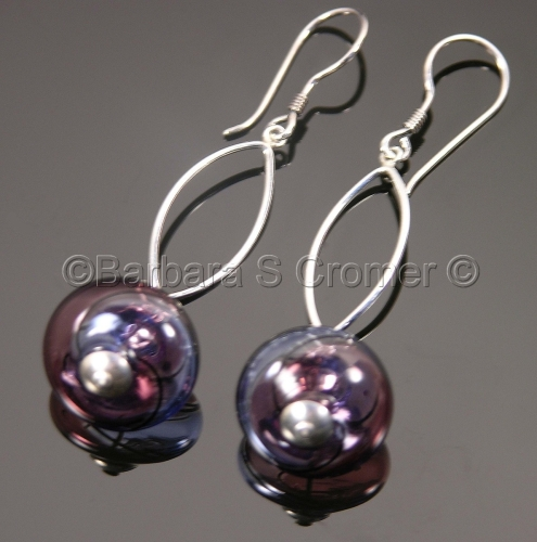 Purple swirl Venetian baubles earrings