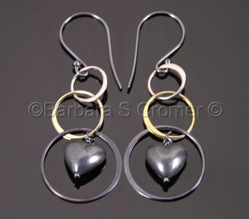 Three rings & a heart earrings