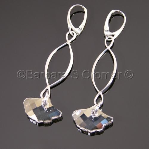 Crystal Gingko earrings