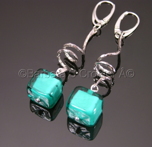 Aqua Venetian cubes with silver squiggle earrings