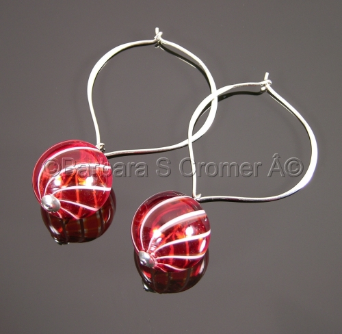 Red with white stripes Venetian bauble earrings