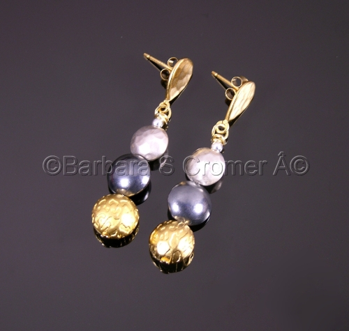Silver, Black Satin, and Vermeil earrings