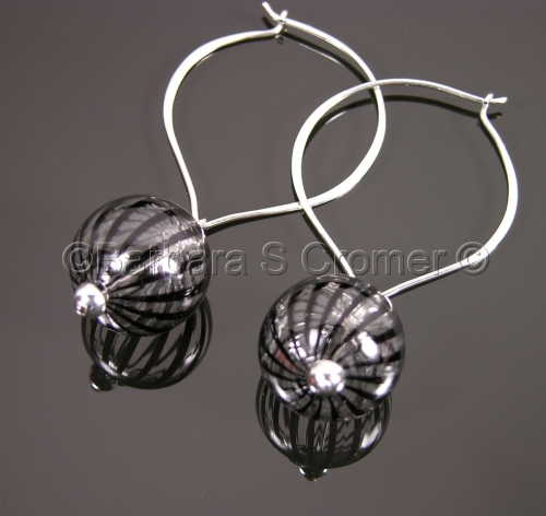 Elegantly striped bauble earrings