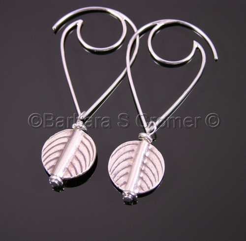 Modern silver leaf earrings by Barbara Cromer