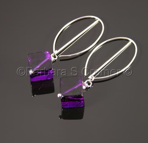 Amethyst cubes, Silver arc earrings by Barbara Cromer