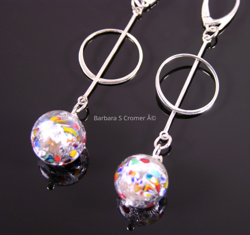 Klimt with Silver circle and bar earrings