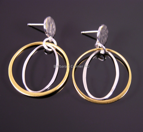 Vermeil ring + silver oval earrings
