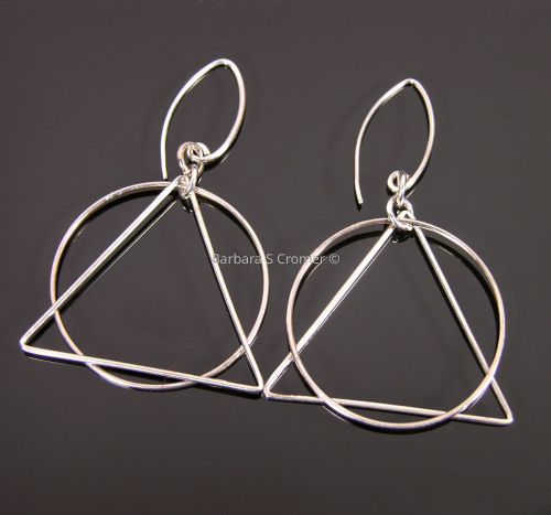 Simple silver geometry earrings