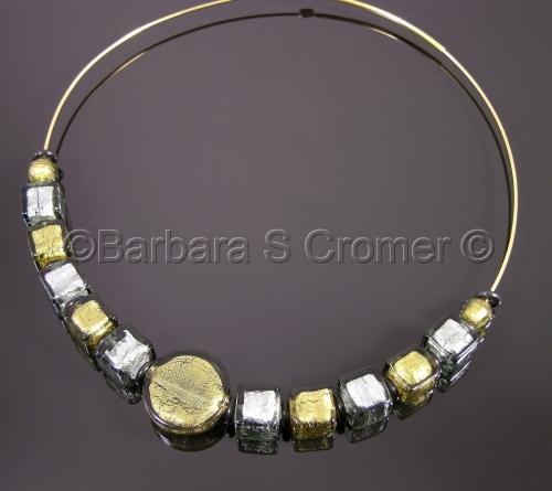 Black diamonds over gold + silver Venetian lampwork necklace