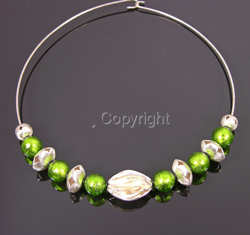 Peridot Venetian + Thai hill tribe silver flora necklace