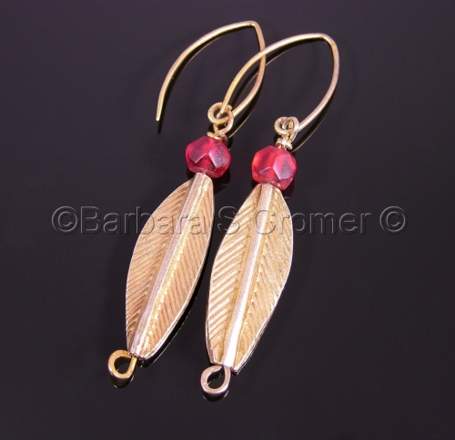 Golden leaves, with red, earrings