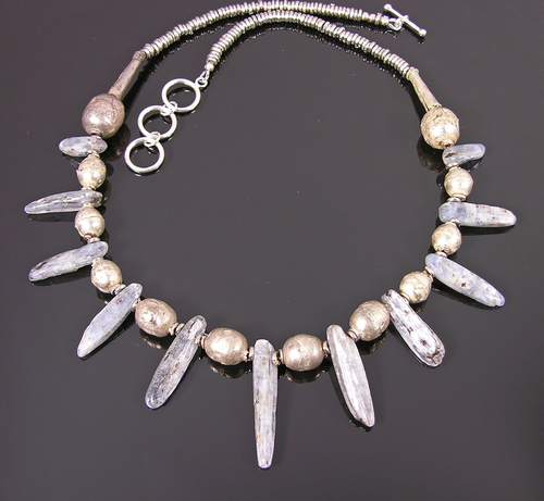 Kyaniite and vintage tribal silver necklace