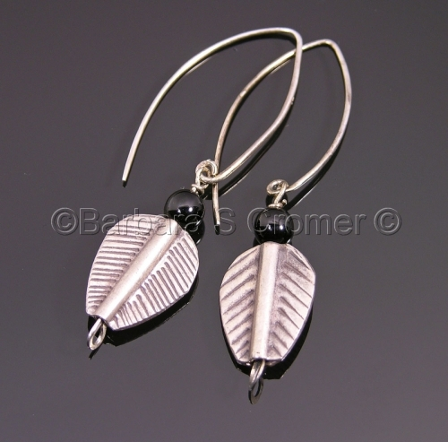 Primitive silver leaves with black onyx