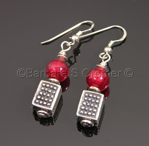 ruby red Venetians + Bali silver