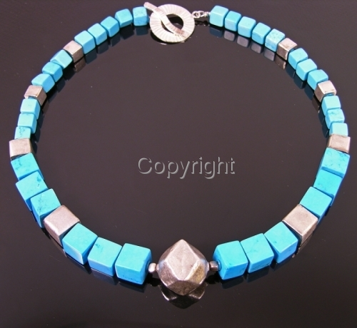 Necklace of Turquoise and Thai Silver cubes