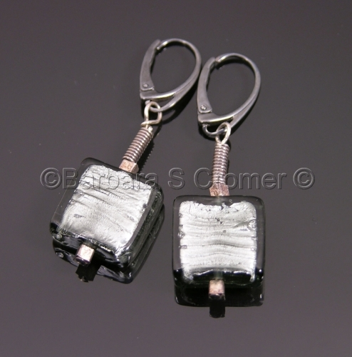 black diamond Venetian squares earrings