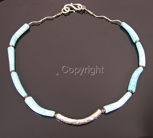 Hammered Thai silver with vintage aqua lampwork