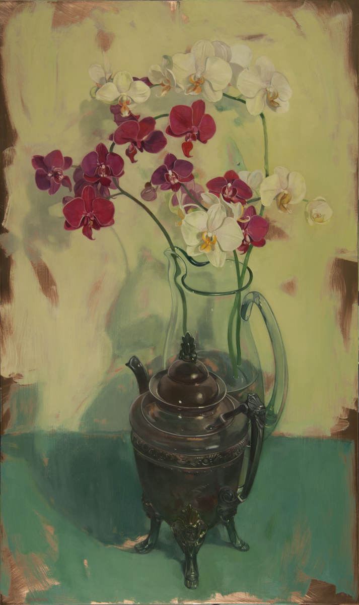Orchids in a Silver Footed Vessel (large view)