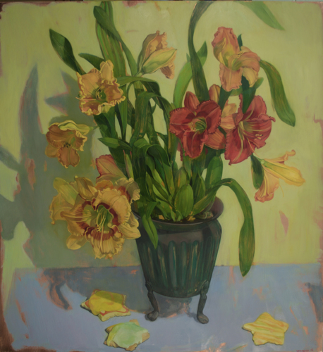 Painting-Oil-Day Lilies in a Footed Pot