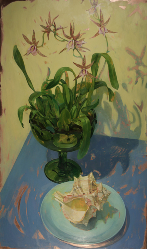 Painting-Oil-Charles Fitch Orchids in a Green Footed Bowl