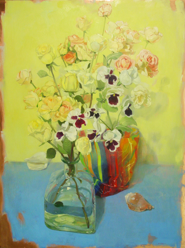Painting-Oil-Roses and Pansies on Blue