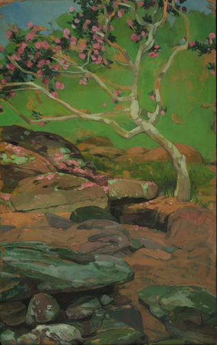 Painting-Oil-Camellia and Rocks at Bellingrath