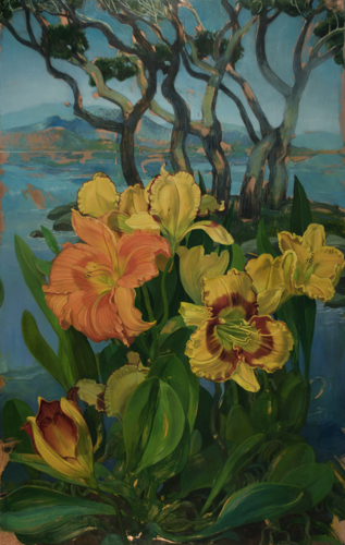Painting-Oil-Day Lilies Landscape