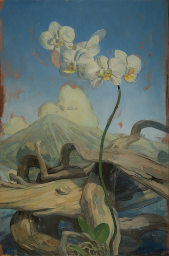 Painting-Oil-Orchids and Logs in Landscape