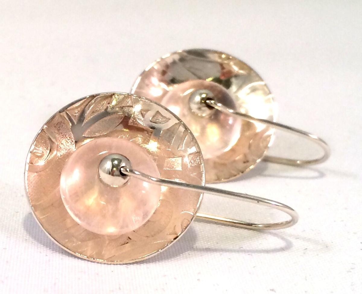 Patterned Silver Rose Quartz Clasp Earrings (large view)