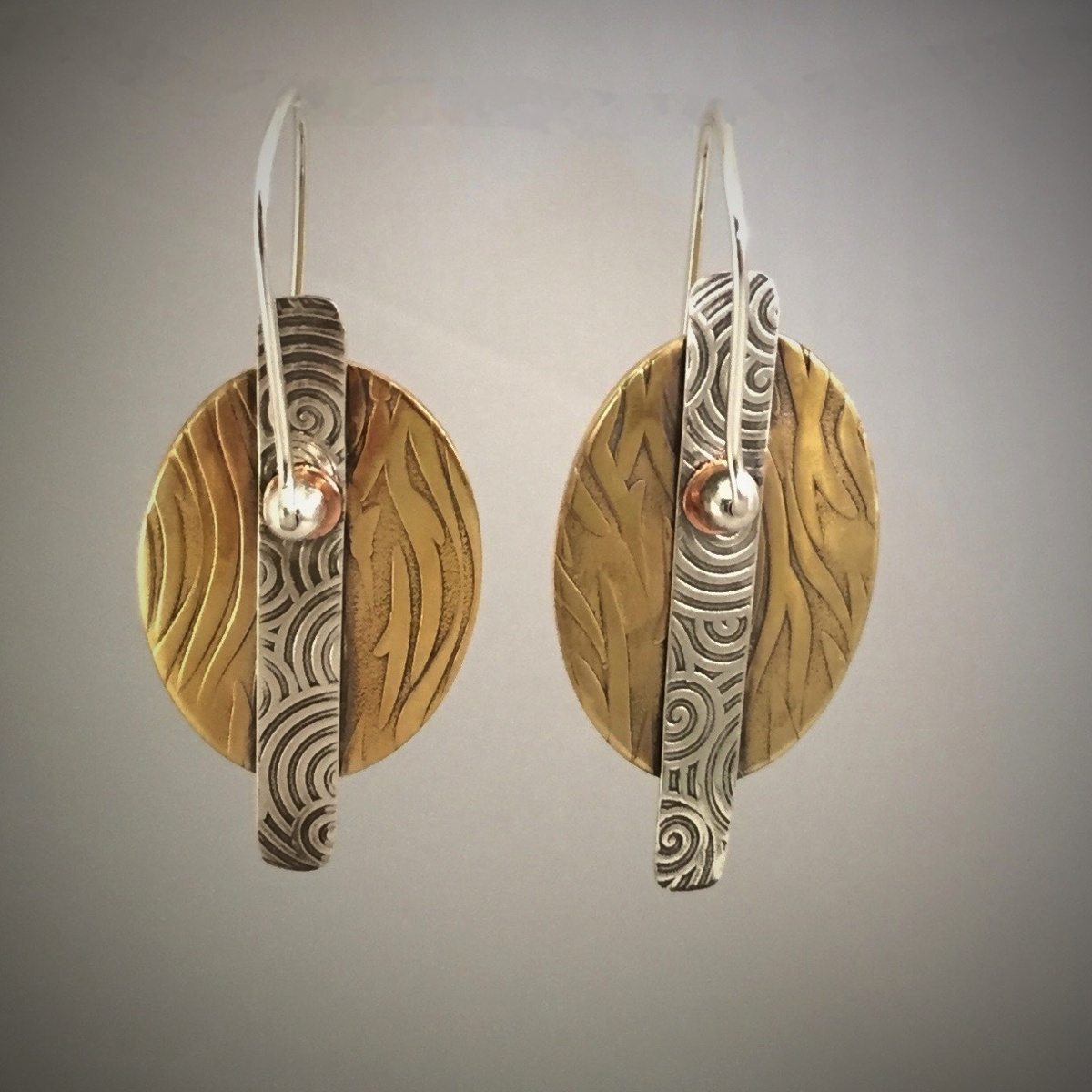 Silver Brass Copper Riveted Earrings  (large view)