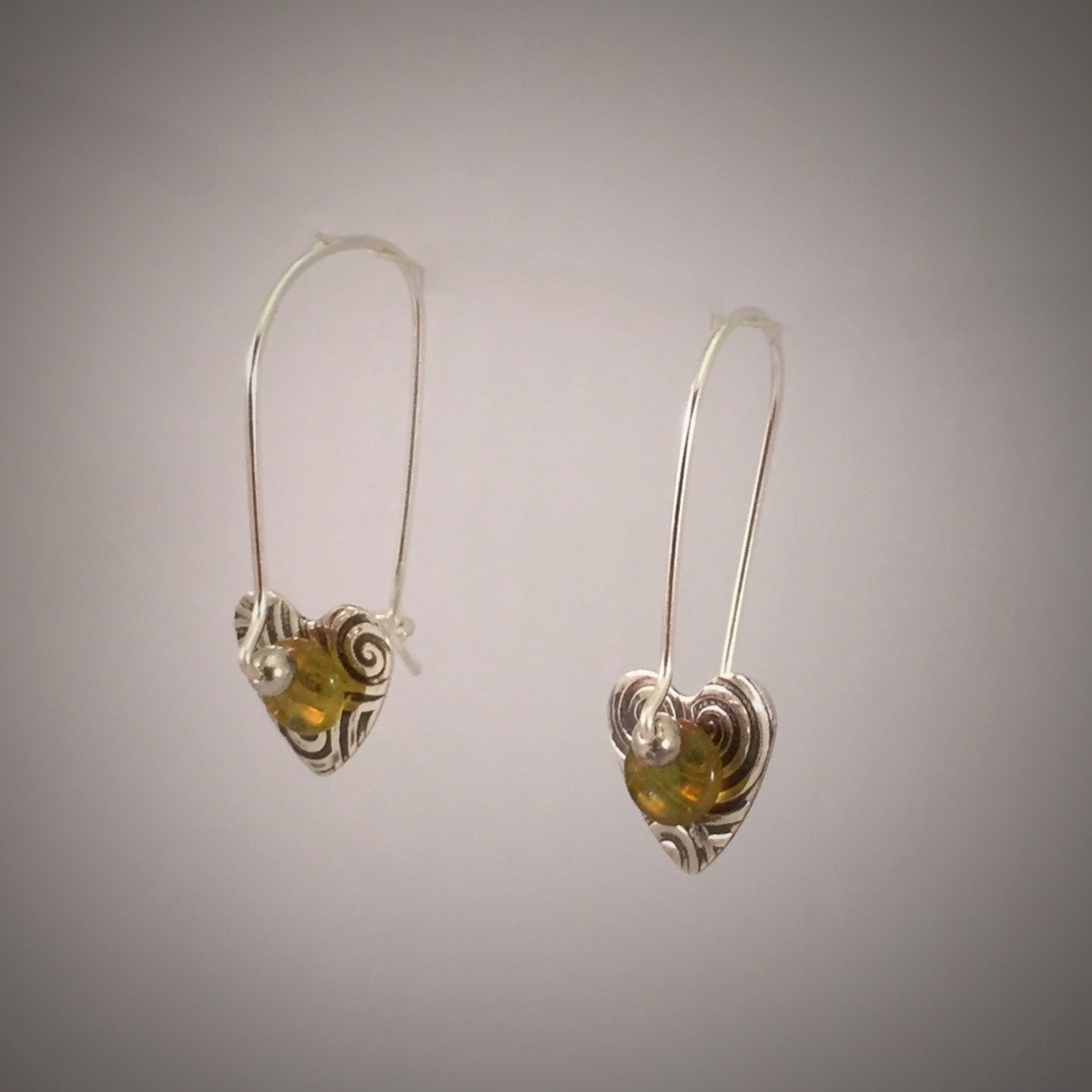 Patterned Silver Small Heart Clasp Earrings (large view)