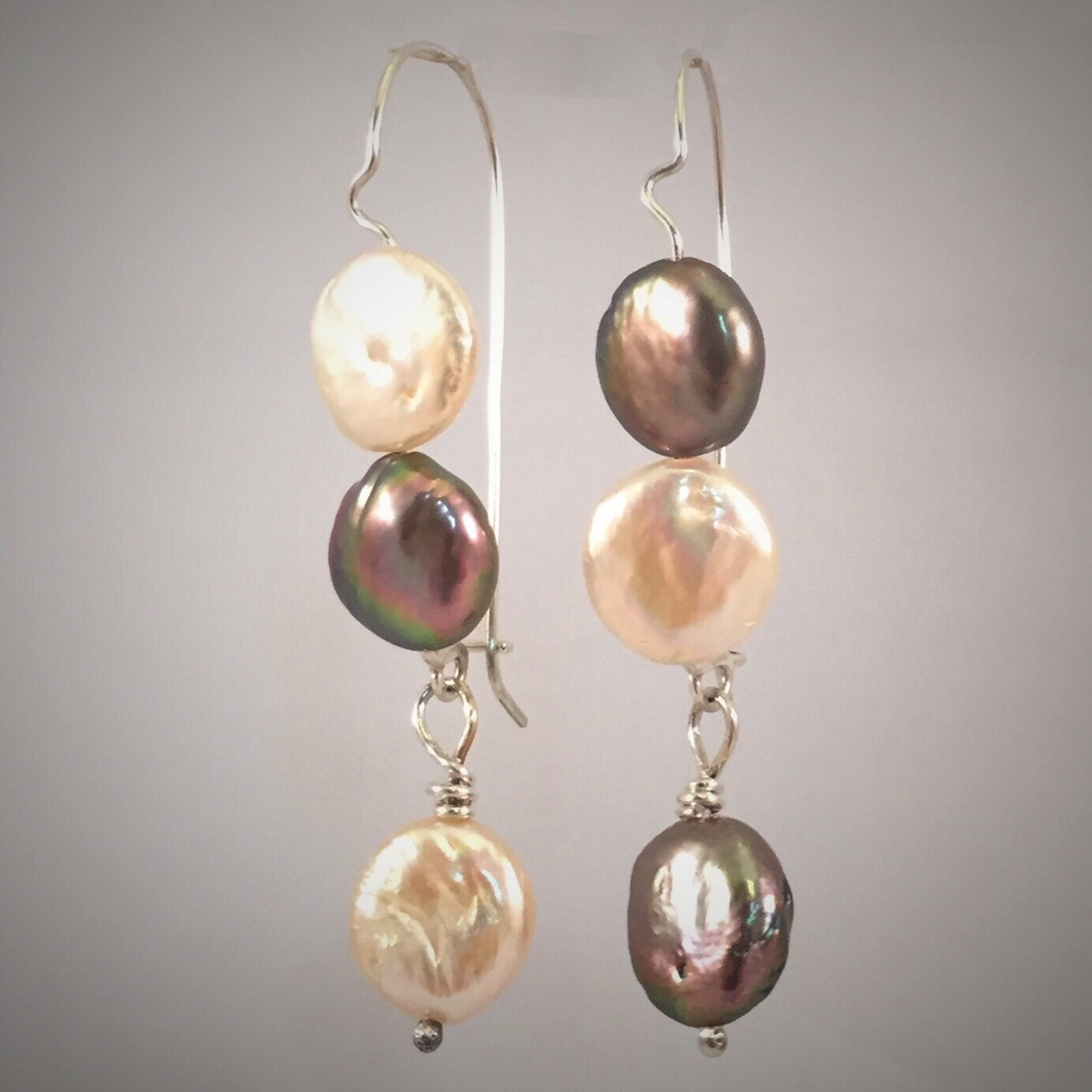 Stacked Coin Pearl Clasp Earrings. (large view)