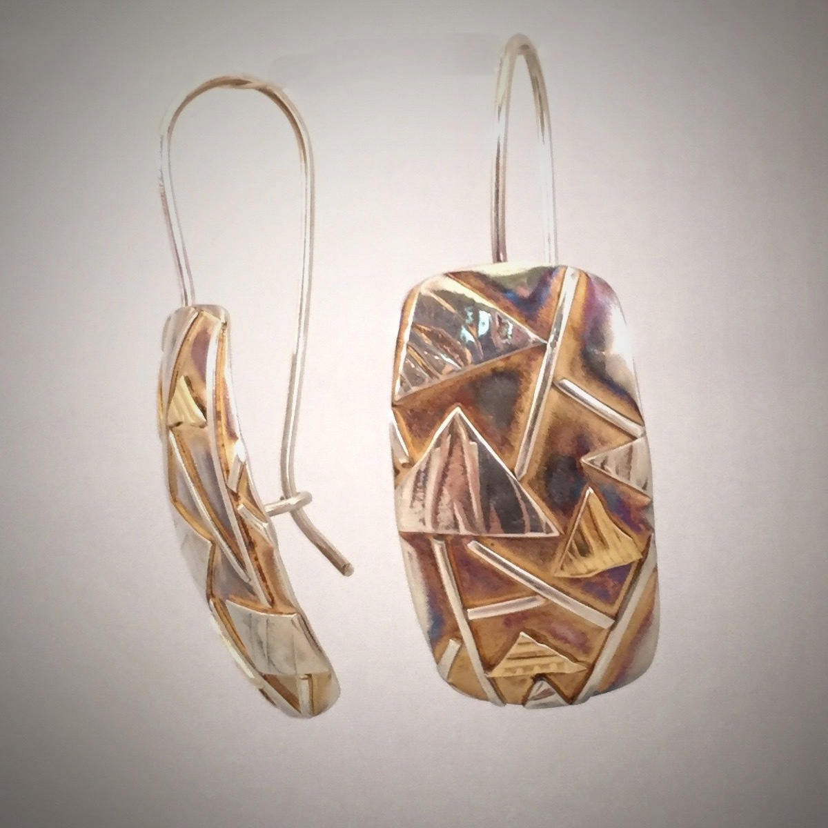 Zentangle Metal Gold & Silver Rectangle Clasp Earrings (large view)